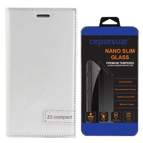 Cepsesuar Sony Xperia Z3 Compact Kılıf Safir Kapaklı Beyaz - Cam