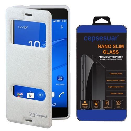 Cepsesuar Sony Xperia Z3 Compact Kılıf Vantuzlu Beyaz - Cam