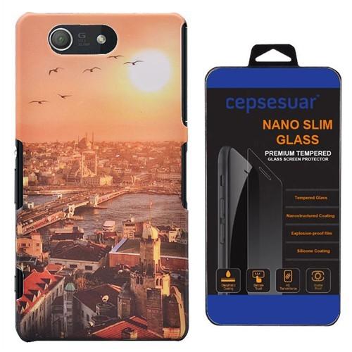 Cepsesuar Sony Xperia Z3 Mini Kılıf Desenli Arka Kapak Manzara - Cam