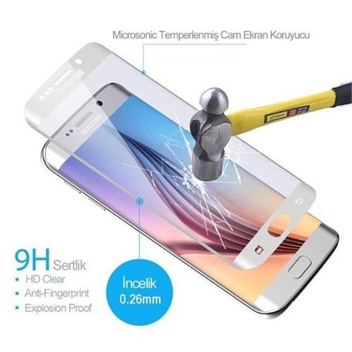 İdealtrend Samsung S6 Edge 3D Kavisli 9H Temperli Cam Ekran Koruyucu Beyaz