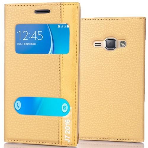 Coverzone Samsung Galaxy J7 216 Kılıf Çift Pencereli Deri + Gold