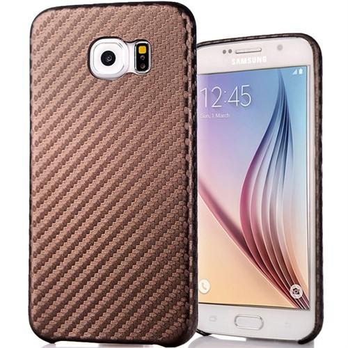 Coverzone Samsung Galaxy S6 Kılıf Karbon Kapak + Kahverengi