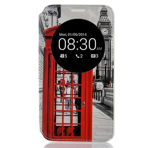 CoverZone Asus Zenfone 2 Kılıf Kırmızı Telefon Kulübesi