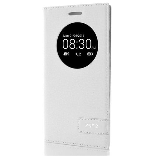 CoverZone Asus Zenfone 2 Kılıf Safir Akıllı Kapaklı Beyaz