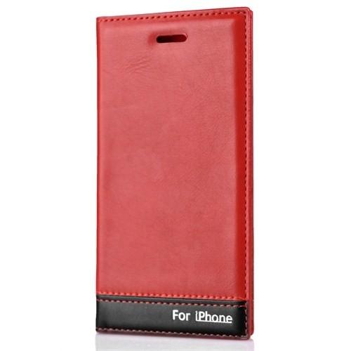 CoverZone İphone 6 Kılıf Deri Kapaklı Milano Kırmızı