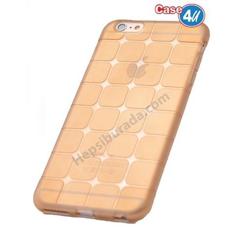 Case 4U Apple İphone 6 Kare Desenli Silikon Kılıf Altın