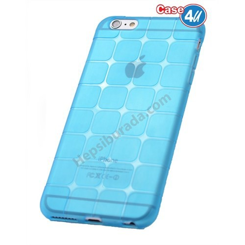 Case 4U Apple İphone 6 Kare Desenli Silikon Kılıf Mavi