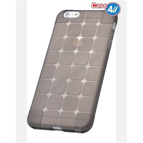 Case 4U Apple İphone 6 Plus Kare Desenli Silikon Kılıf Siyah