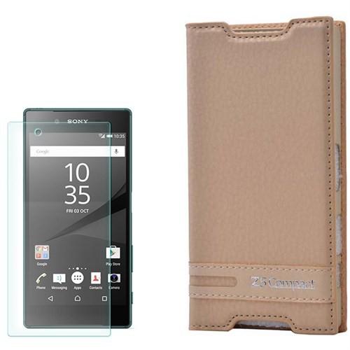Cep Market Sony Xperia Z5 Compact Kılıf Kapaklı Düz Elite + Cam