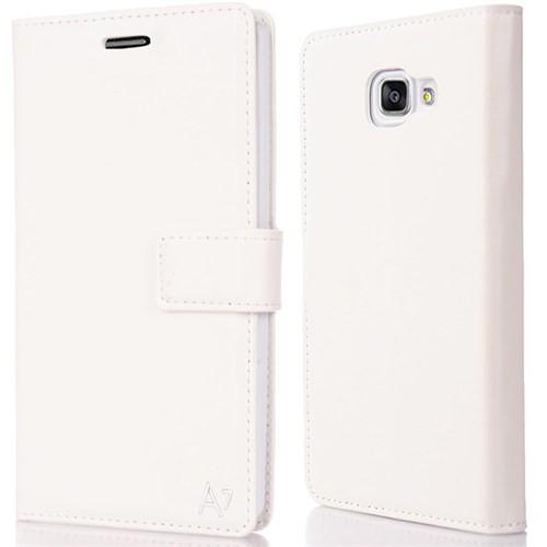 CoverZone Samsung Galaxy A7 Kılıf 2016 A710 Trend Deri Mıknatıslı Beyaz