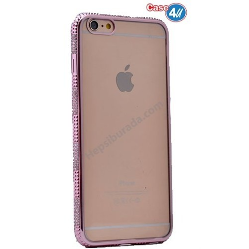 Case 4U Apple İphone 6S Plus Taşlı Silikon Kılıf Pembe