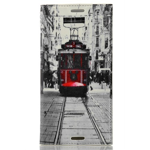 CoverZone Sony Xperia M4 Aqua Kılıf Kapaklı Taksim Tramvay