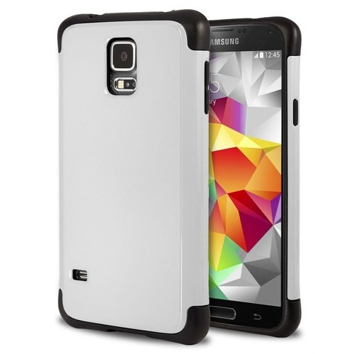 Microsonic Slim Fit Dual Layer Armor Samsung Galaxy S5 Kılıf Beyaz