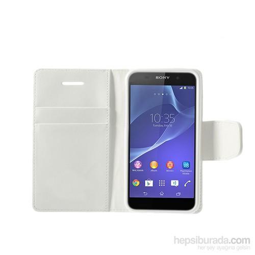 Case 4U Sony Xperia Z2 Beyaz Cüzdan Kılıf