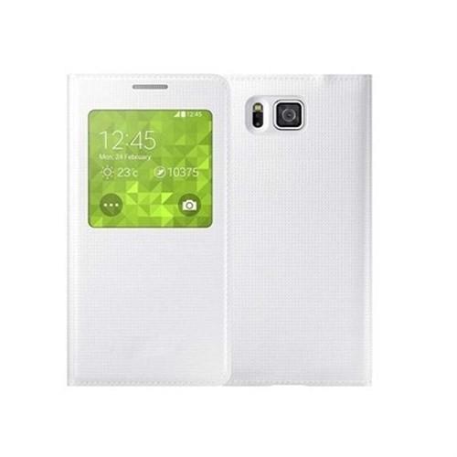 Microsonic View Cover Delux Kapaklı Samsung Galaxy Alpha Kılıf Akıllı Modlu Beyaz