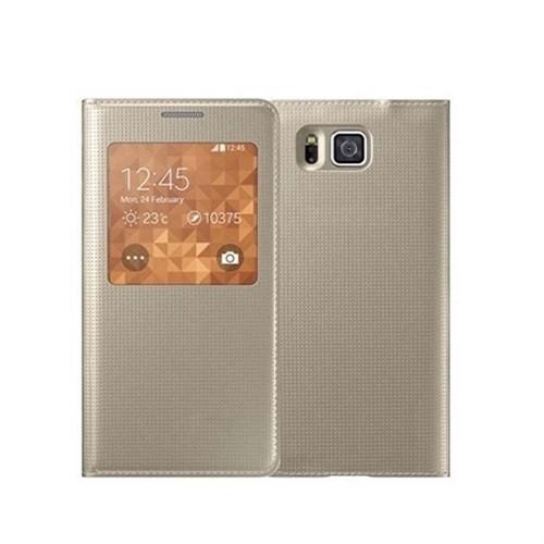 Microsonic View Cover Delux Kapaklı Samsung Galaxy Alpha Akıllı Modlu Kılıf Sarı