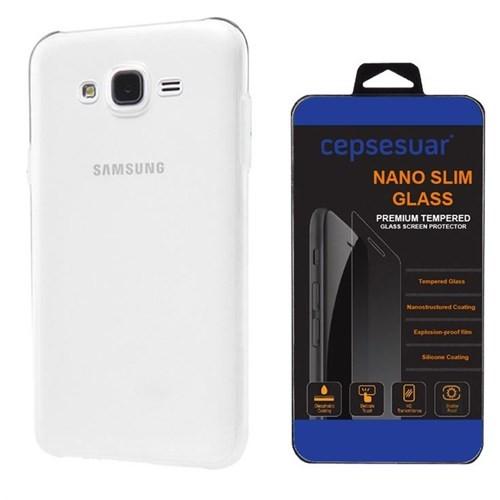 Cepsesuar Samsung Galaxy J7 Kılıf Silikon 0.2 Mm Şeffaf + Cam