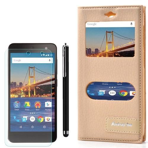 Cep Market General Mobile One 4G Kılıf Pencereli Safir +Kalem+Cam
