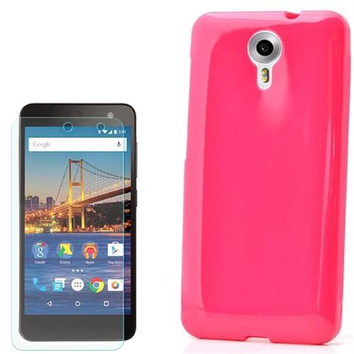 Cep Market General Mobile One 4G Kılıf Parlak Silikon +Cam