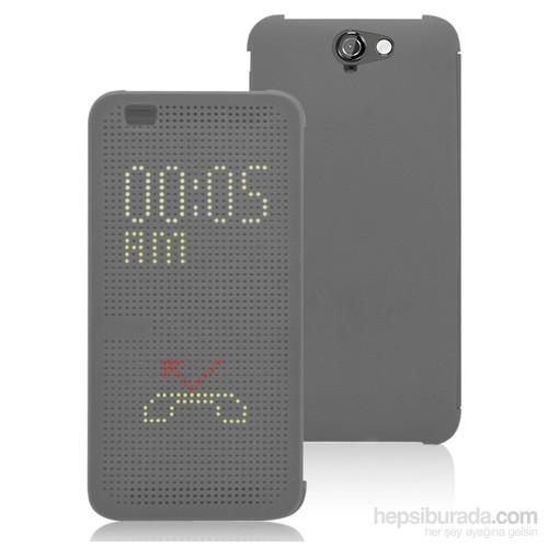 Microsonic Htc One A9 Kılıf Dot View Delux Kapaklı Akıllı Modlu Gri