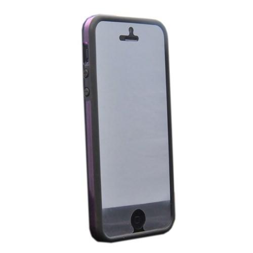 Duck Apple iPhone 5 Silikon Bumper - Daily - Mor Siyah Kapak