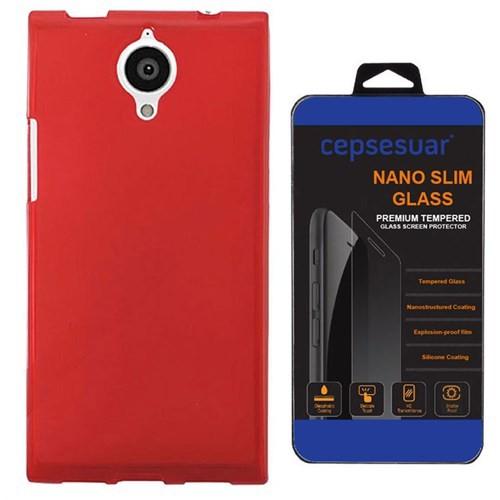 Cepsesuar General Mobile Discovery Elite E7 Kılıf Silikon Kırmızı + Cam