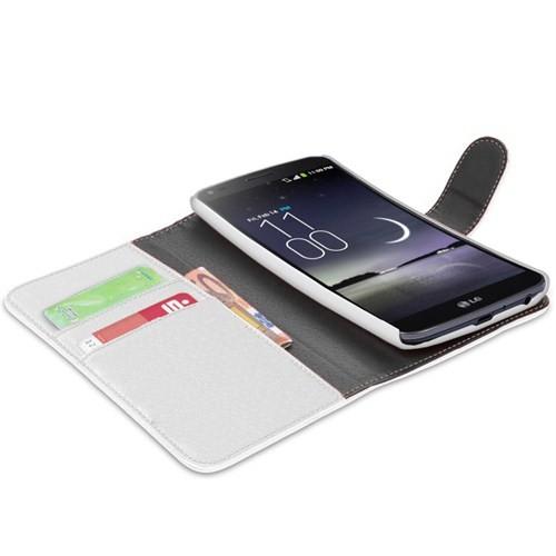 Microsonic Cüzdanlı Deri Kılıf - Lg G Flex Beyaz
