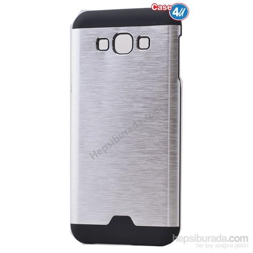 Case 4U Samsung Galaxy J7 Moto Sert Arka Kapak Gümüş