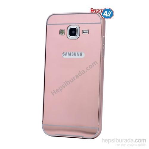Case 4U Samsung Galaxy J7 Aynalı Bumper Kapak Pembe