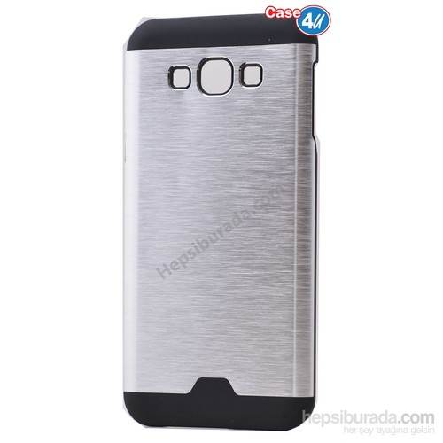 Case 4U Samsung Galaxy Core Prime Moto Sert Arka Kapak Gümüş