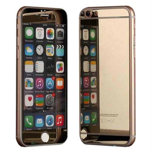 Microsonic İphone 6S Plus Mirror Temperli Cam Ekran Koruyucu Ön + Arka Gold