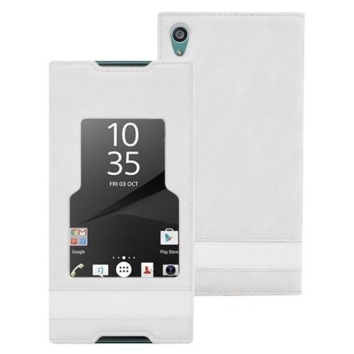 Microsonic Sony Xperia Z5 Premium Kılıf Gizli Mıknatıslı View Delux Beyaz