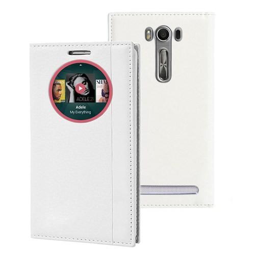 Microsonic Asus Zenfone 2 Laser 5.0'' Kılıf Gizli Mıknatıslı View Delux Akıllı Beyaz
