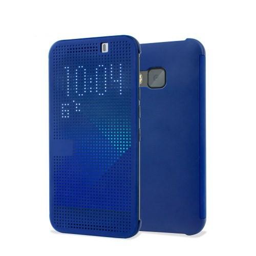 Microsonic View Cover Dot Delux Kapaklı Htc One M9 Kılıf Akıllı Modlu Mavi