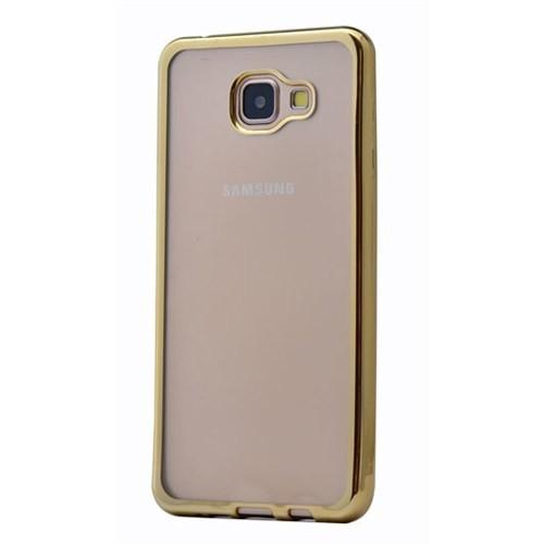 Lopard Samsung Galaxy A3 (2016) Kılıf Laser Şeffaf Arka Sert Kapak Gold