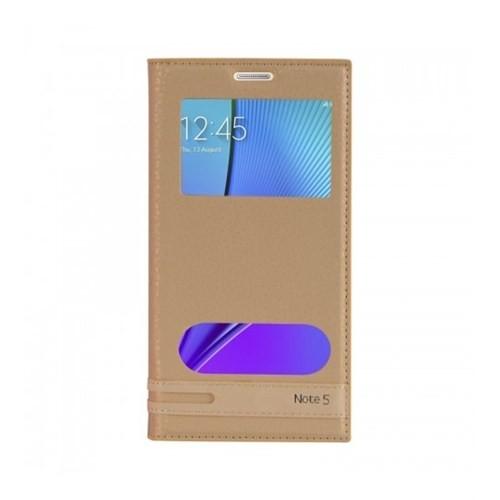 Lopard Samsung Galaxy Note 5 Kılıf Kapaklı Pencereli Ellite Case Deri Gold