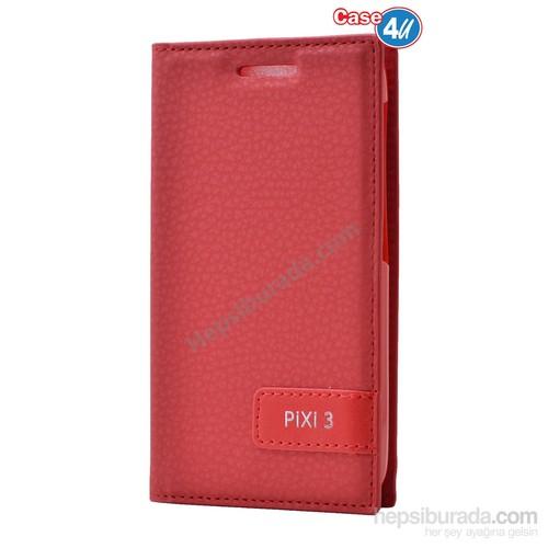 Case 4U Alcatel Pixi 3 Gizli Mıknatıslı Kapaklı Kılıf Kırmızı