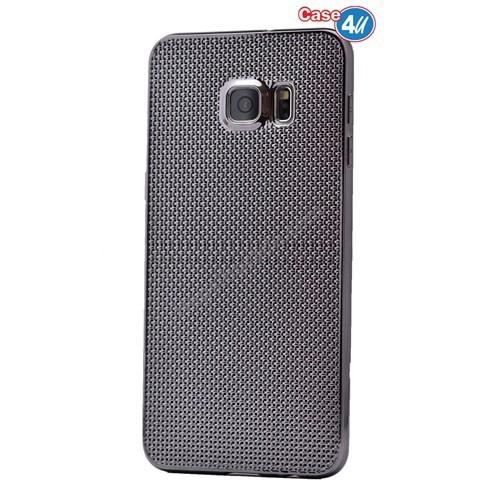 Case 4U Samsung Galaxy S6 Edge Plus Hasır Desenli Ultra İnce Silikon Kılıf Siyah