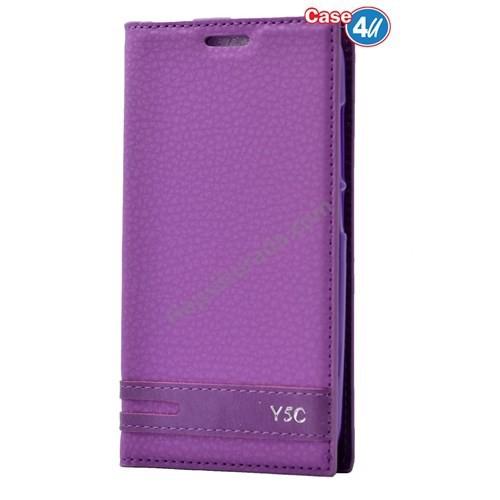 Case 4U Huawei Y5c Gizli Mıknatıslı Kapaklı Kılıf Mor