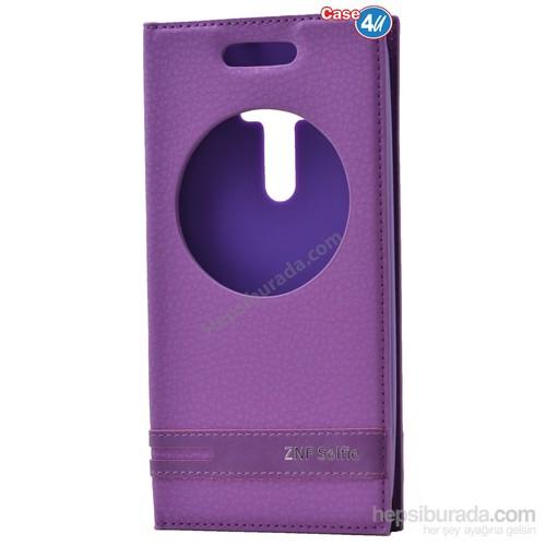 Case 4U Asus Zenfone Selfie Pencereli Kapaklı Kılıf Mor