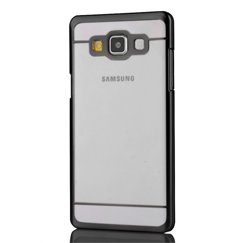CoverZone Samsung Galaxy A3 Kılıf Şeffaf Kristal Rubber Siyah