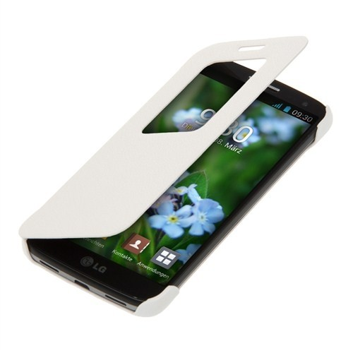 Microsonic View Cover Delux Kapaklı Lg G2 Mini Kılıf Beyaz