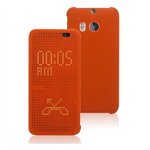Microsonic View Cover Dot Delux Kapaklı Htc One M8 Kılıf Akıllı Modlu Turuncu