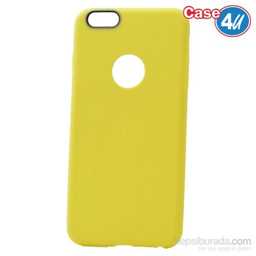 Case 4U Apple İphone 6S Çizgili Silikon Kılıf Sarı