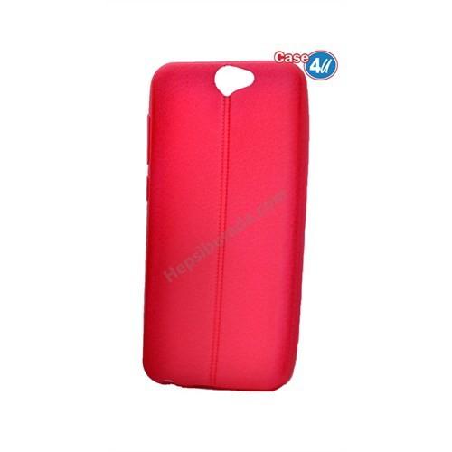 Case 4U Htc One A9 Parlak Desenli Silikon Kılıf Kırmızı