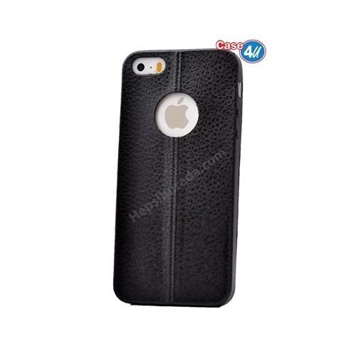 Case 4U Apple İphone 5S Parlak Desenli Silikon Kılıf Siyah