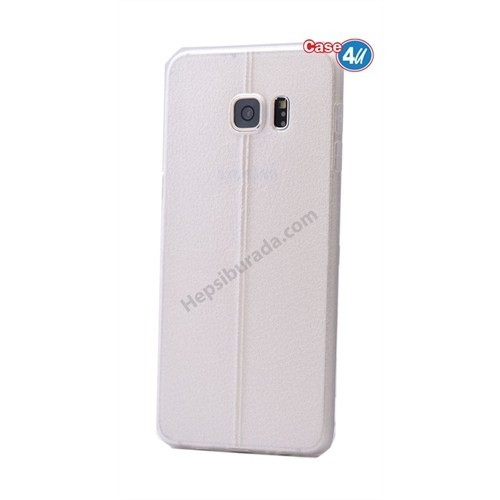 Case 4U Samsung Galaxy S6 Parlak Desenli Silikon Kılıf Beyaz