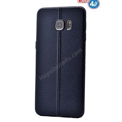 Case 4U Samsung Galaxy S6 Edge Parlak Desenli Silikon Kılıf Lacivert