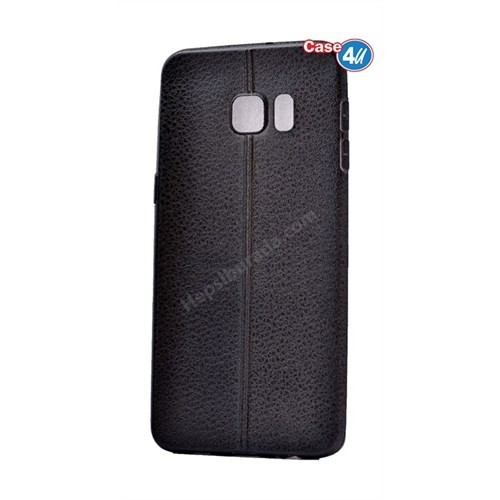 Case 4U Samsung Galaxy S6 Edge Plus Parlak Desenli Silikon Kılıf Siyah