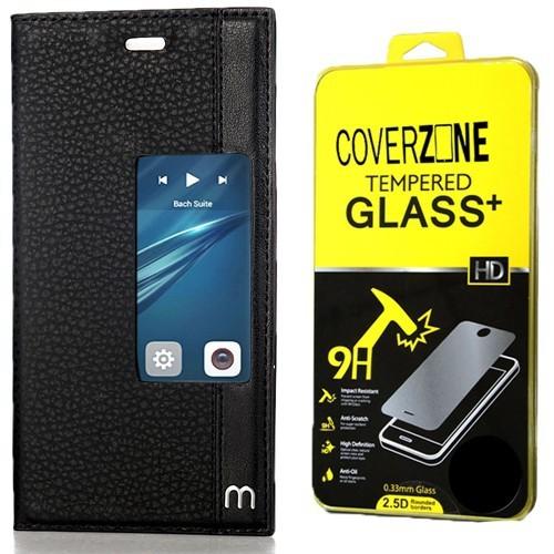 Huawei P9 Kılıf Elite Pencereli Standlı Siyah + Cam